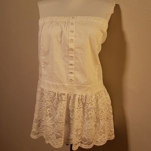 Ashley Stewart white peasant lace halter. Size 26